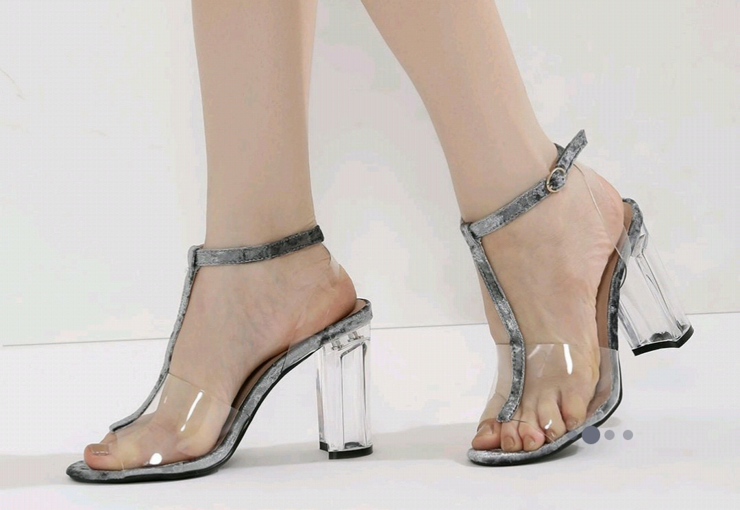 high heels, plastic heels, glass high heels, women heels