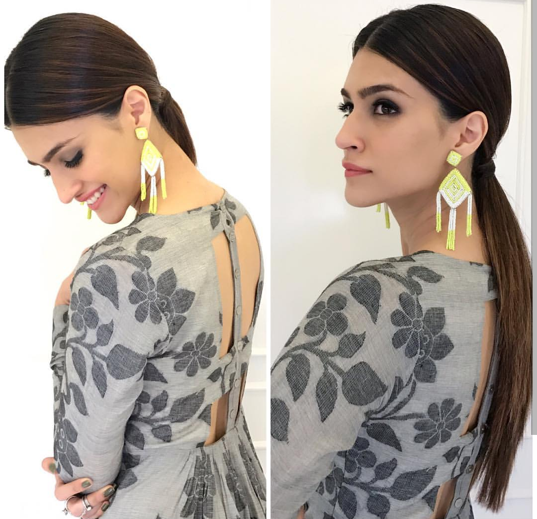 Kriti Sanon, hairstyles, best hairstyles, kriti sanon hairstyles, sleek back low ponytail
