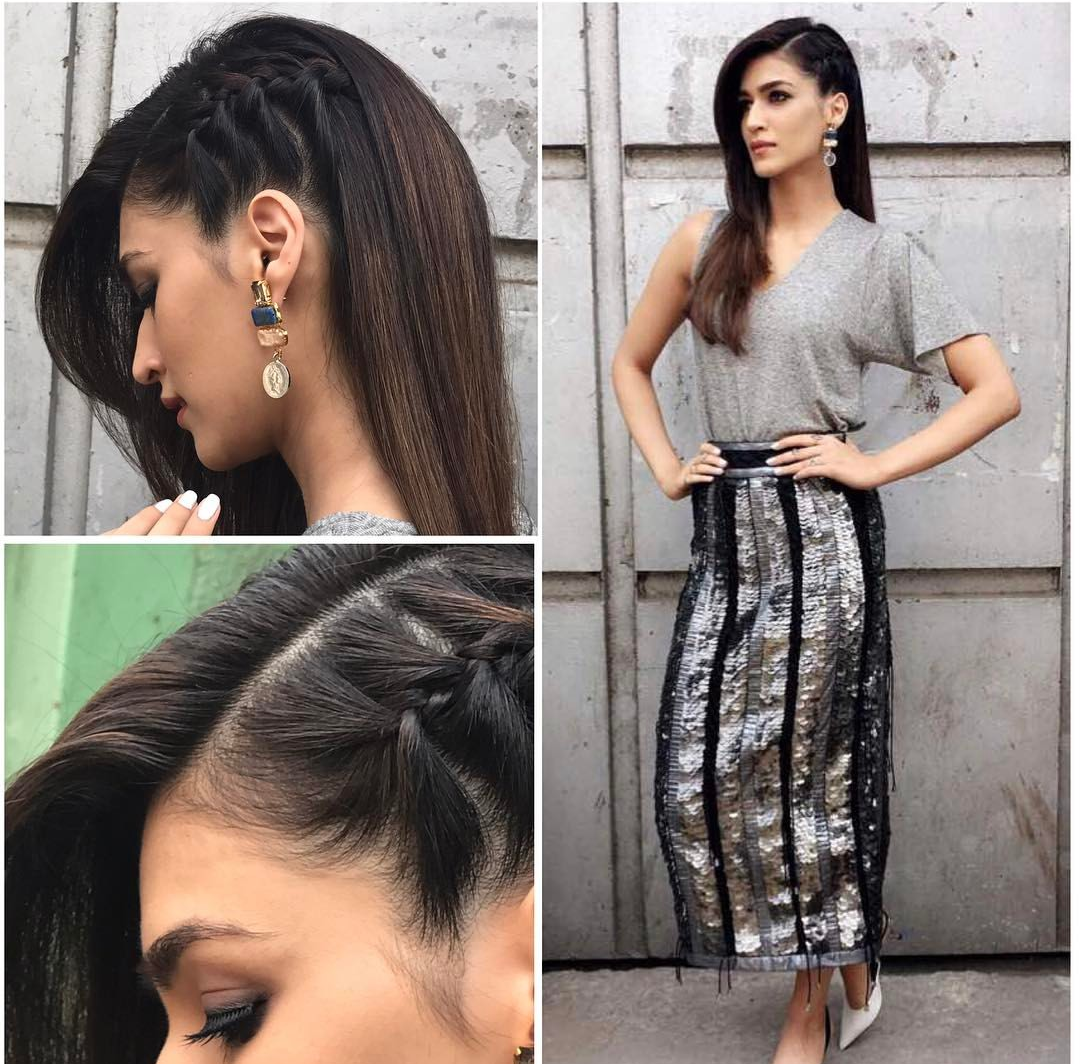 Kriti Sanon, hairstyles, best hairstyles, kriti sanon hairstyles, one sided french braid