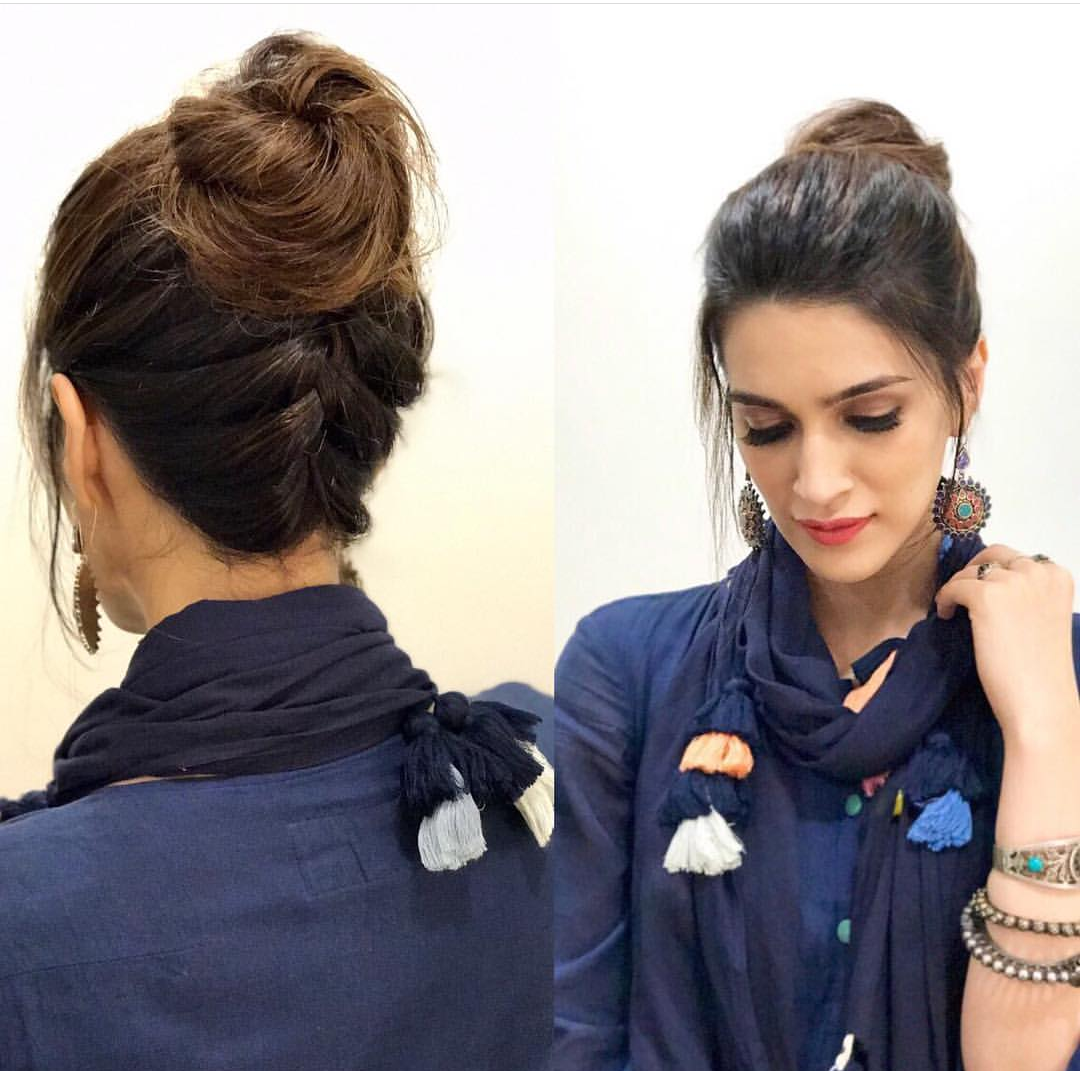 Kriti Sanon, hairstyles, best hairstyles, kriti sanon hairstyles, upside down french braid top knot